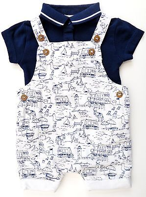 Next Baby Boys Navy Blue White Seaside Cotton Romper & Bodysuit Outfit 0-3months