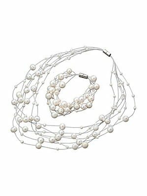 Multi-strand 3-8-9mm White Freshwater Pearl Necklace and Bracelet Jewellery Set