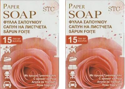 Stc Travel Paper Soap Rose Scented 30 White Sheets Leaves Leaf Packed Boxed