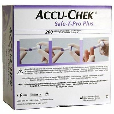 ACCU-CHEK SAFE-T-PRO PLUS - Single-Use Sterile Lancing Devices Box 200 FREE DEL