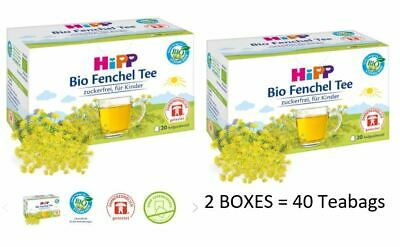 HiPP Baby Organic Fennel Tea 20x TEABAGS Digestive Tea + FREE Travel Wipes!