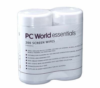 ESSENTIALS PSW20012 Screen Wipes 2 packs of 100 Alcohol & ammonia free