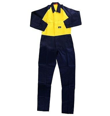 2x Hard Yakka Hi-Vis Two Tone Navy / Yellow Cotton Drill Overall Coverall
