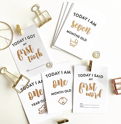 Baby Milestone Cards Set of 15 with matte gold foil finishing