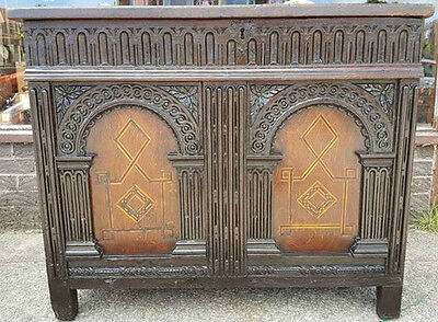 Jacobean chest / coffer ** C17th** Inlaid panels English Oak