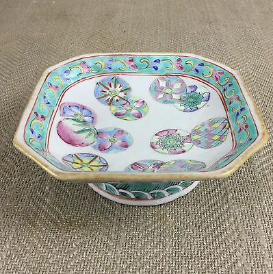 Antique Chinese Bowl Dish 19th C Jiaqing Mark Famille Rose Porcelain Piqiuhua