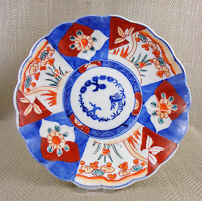Antique Japanese Imari Plate Porcelain Hand Painted Dish Meiji 19th C Scalloped