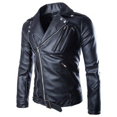 AOWOFS Men's Leather Look Regular Fit Black Motorcycle Jacket, Size 44 US; $95