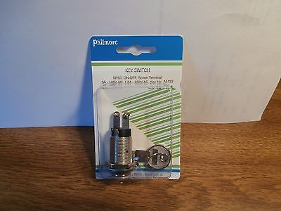 On-Off Switch Key Lock Tumbler SPST,Philmore 30-1196,NIP