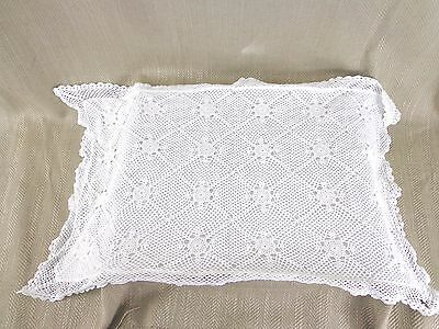 Antique Lace Pillow Cushion Cover Handmade Embroidered White Cotton Vintage