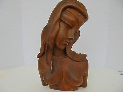 Vintage Mid century carved wooden Woman HEAD / BUST statue