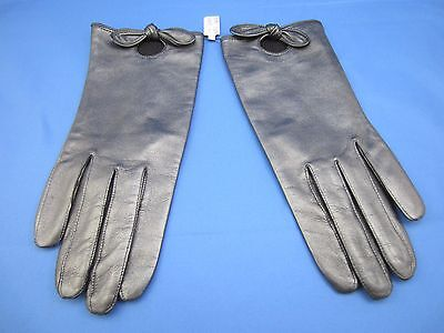 NEW Cache Women's Lambskin Leather Gloves - Gray Metallic Size Medium (M)