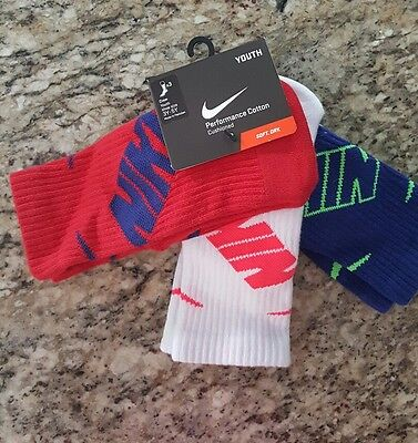 Nike Youth Crew Socks Shoe Size 3Y-5Y Cotton red white blue  3 Pack