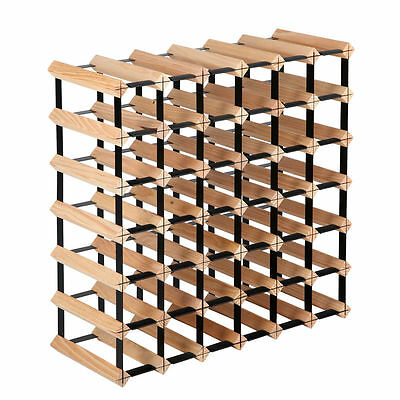 Timber Wine Rack Wooden Storage Organiser Stand 42 Bottle Natural Wood Holder