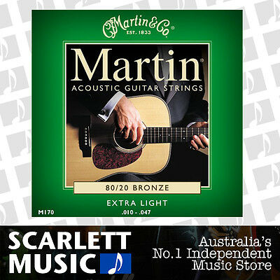Martin M170 10-47 Extra Light 80/20 Bronze Acoustic Guitar Strings M-170