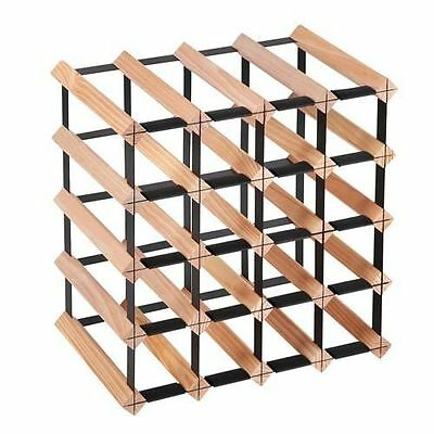 Timber Wine Rack Wooden Storage Organiser Stand 20 Bottle Natural Wood Holder
