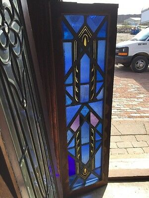 Sg 1291 Antique Painted And Fired Stain Glass Transom Or Vertical Window 14 X 48