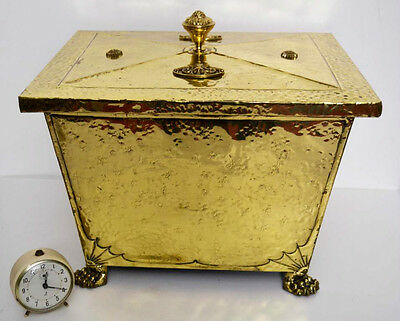 An English  Victorian Brass Coal Box with Paw Feet  - FREE Shipping [PL3277]