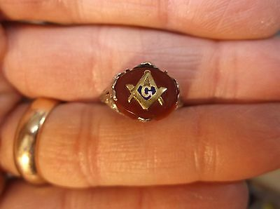 Rare Antique Art Deco 14K White Gold Ladies Ring, Yellow G Masonic Compass Inlay
