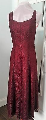 Dress 1970s Vintage Wine Color Elegant Form Fitting Lace Satin Underlay