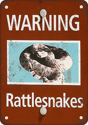 """7"""" x 10"""" Metal Sign - Warning Rattlesnakes - Vintage Look Reproduction"""