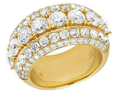 10K Yellow Gold Genuine Diamond Solitaire Prong Mens Wedding Band Ring 8 CT 14MM