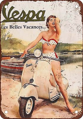 """7"""" x 10"""" Metal Sign - Vespa Scooters - Vintage Look Reproduction"""