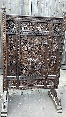 Gigantic 165Cm High Solid Oak Carved Antique Victorian Heavy  Firescreen