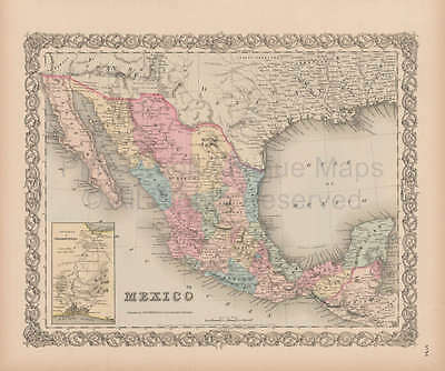 Mexico Vintage Map Original Mexican Heritage Ancestry Gift Ideas Colton 1856
