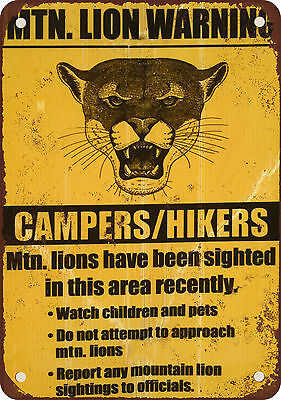 """7"""" x 10"""" Metal Sign - Mountain Lion Warning Campers Hikers - Vintage Look Reprod"""