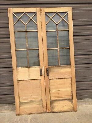 A N 69 Matched Pair Antique Pine Queen An French Doors 48 X 80