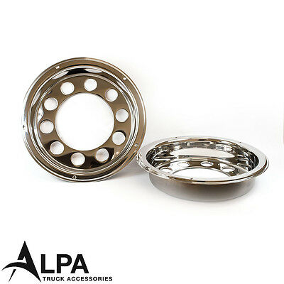 """Rear Truck Wheel Trims 22.5"""" Stainless Steel - Anti Theft - Scania Volvo DAF MAN"""
