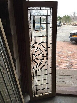 Rk 29 Antique Beveled In Textured Glass Transom Window Sunrise 16 X 52.5