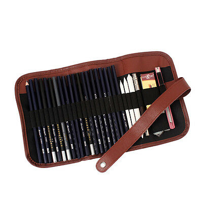 24x Set Sketch Pencils case Charcoal Extender Pencil shade Cutter Drawing Bag TO