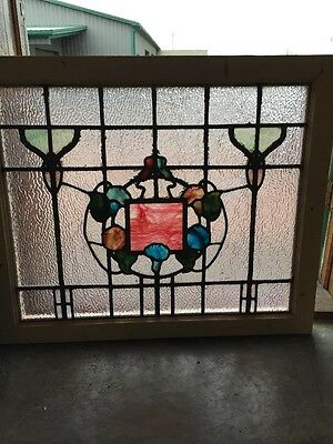 Rk 30 Antique Stainglass Landing Window Art Nouveau Floral 34.25 X 28.5