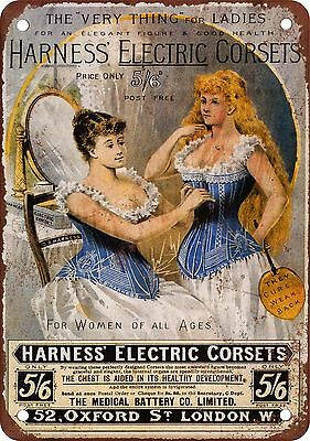 """7"""" x 10"""" Metal Sign - Harness' Electric Corsets - Vintage Look Reproduction"""