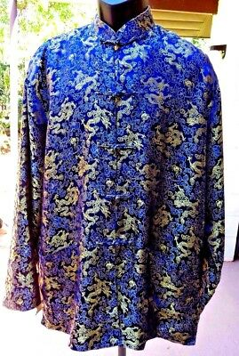 "Reversible MandarinStyle Blue/Gld Brocade Vietnamese Made Jacket Fits Most 51""ch"