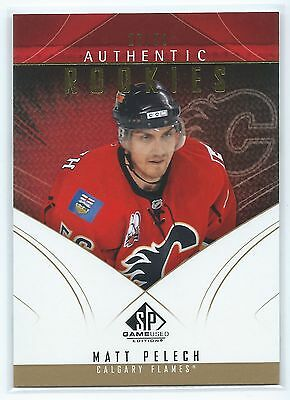 09-10 UD Hockey Game Used Authentic Rookies Gold Matt Pelech Calgary Flames /50