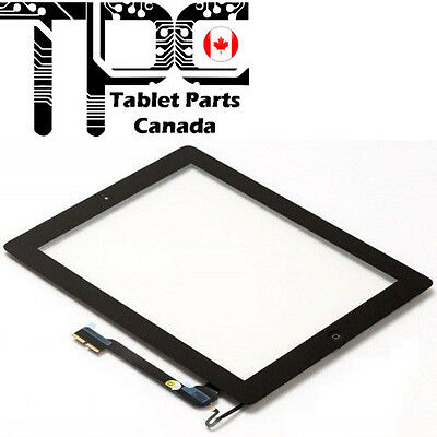 Apple iPad 3 & 4 Digitizer Touch Screen Home Button Adhesive Complete Black