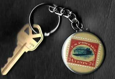 24 cent US Postage Stamp JENNY Inverted Key Chain KEYCHAIN