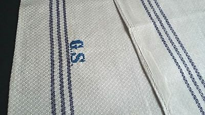 old linen kitchen Towel / Runner nature coloured with dark blue stripe border