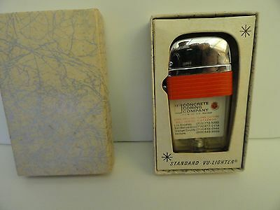 Vintage Scripto VU Lighter Concrete Coring Company with Red Band in Box