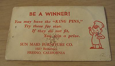 "VTG ca 1950's Advertising Envelope/Game Prize~""SUN MAID FURNITURE"" Fresno CA~"