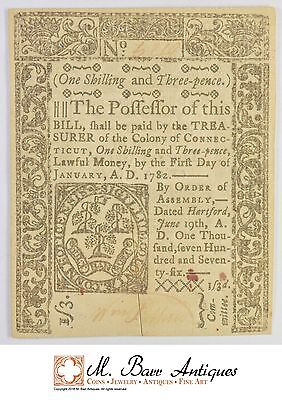 1776 1 Shilling & 3 Pence Connecticut Colonial Currency *379