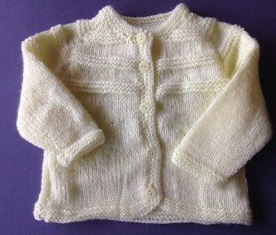 New hand knitted baby Jacket, Lemon. Sz 000. Save post on 2 items