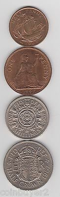 1967 England (UK) 4 Coin Lot -  1/2 Penny, One Penny, 2 Shillings, 1/2 Crown