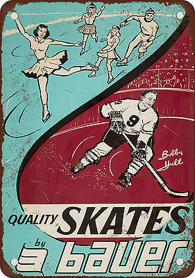 """7"""" x 10"""" Metal Sign - 1964 Bauer Skates and Bobby Hull - Vintage Look Reproducti"""