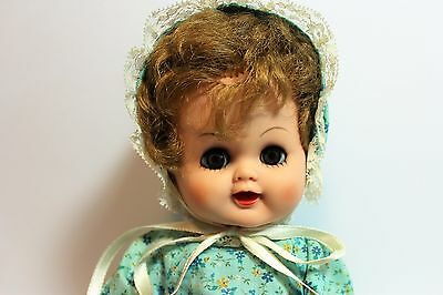 "Ideal? Betsy Wetsy CLONE Doll 14"" Vinyl Rooted Curly Hair Blue Sleep Eyes"