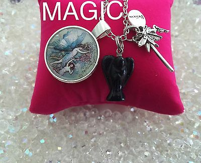 00029  MAGIC Angel And The Fairies Gemstone Infused Necklace Wand Believe Cab