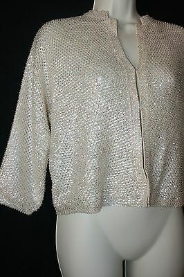 LADIES VINTAGE 1950'S IVORY BEIGE SEQUIN SWEATER  EXCELLENT sz 40 M/L